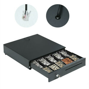 Heavy Duty Compact Black Manual Push open Cash Drawer With 5bill 5coin Till