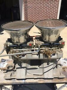 Weiand Dual Quad Tunnel Ram Small Block Chevy Sbc Holley Carburetors Linkage