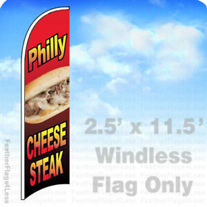 Philly Cheesesteak Windless Swooper Flag 2 5x11 5 Cheese Steatk Sign Rb