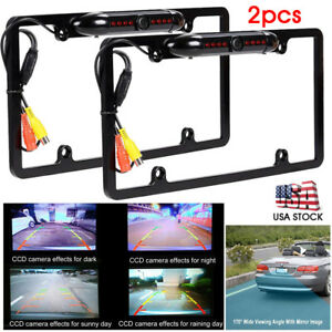 2x Car License Plate Frame Stainless Steel Cover Backup Camera Night Vision Ip67