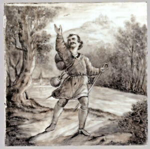 The Wandering Prince C1870s Hand Painted Artwork On Porcelain Plaque