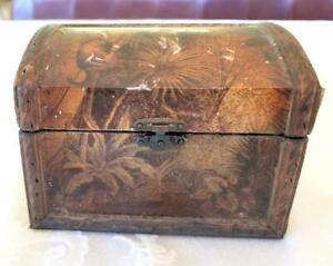 Antique Wallpaper Covered Dome Top Box Tea Caddy Trinket