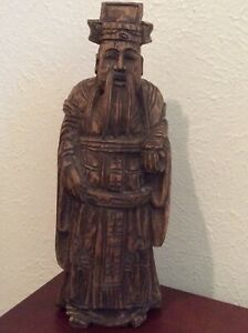 Estate Antique Chinese Wood Carved Standing Man Figurine 12 5