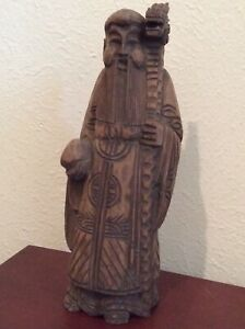 Estate Antique Chinese Wood Carved Standing Man Dragon Cane Figurine 11 5