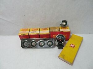 Stewart Warner 2 1 16 Greenline Gauges Panel Tach Nos Hot Rod Rat Rod Truck