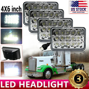 4pcs 4x6 75w Led Headlights Hi lo Sealed Beam For Peterbilt Kenworth T800 W900