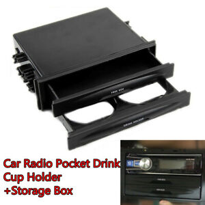 Universal Kit Dash Storage Box Drink Cup Holder Double Din Car Radio Pocket