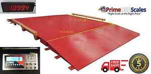 10 Ft X 10 Ft Truck Scale Two Ramps Printer 60 000 Lb Axle Car Scale Portable