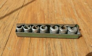 Vintage Indestro Socket Set W Allen Wrench 9 Pc Set Sockets 1 4 7 16