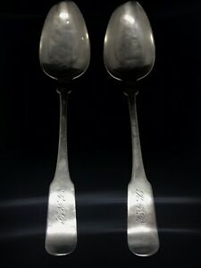 2 Antique American Coin Silver William Thomson New York Circa 1810 Soup Spoons