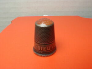Antique Thimble Orange Glass Top Dieu Vous Garde God Bless You