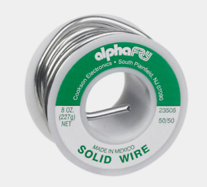 Alpha Fry Solid Wire Solder Multi Use 50 50 Tin lead 0 125 Diameter 8 Oz 23505