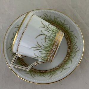Vintage Demitasse Espresso Cup Saucer Set Kaser Germany Wheat Beaded Gold Rim