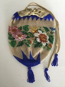 Antique Victorian Crochet Floral Micro Bead Drawstring Purse