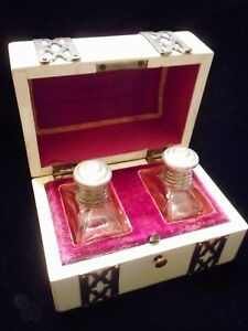 Very Old Early Antique Glass Perfume Bottles In Fitted Wood Steel Box
