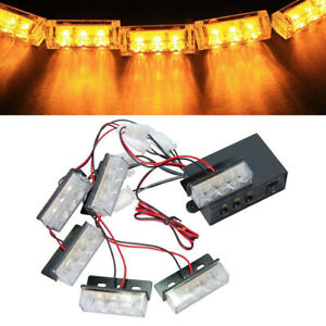 18 Led Strobe Dash Emergency Flashing Warning Light For Car Truck Yellow Amber