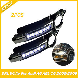 Car Led Lights Daytime Run Fog Lamp Cover Drl White For Audi A6 A6l C6 2005 2008