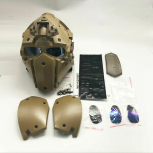 Full Face Hunting Protective Mask Tactical Airsoft Helmet w 4 Pairs Goggles TAN $109.44