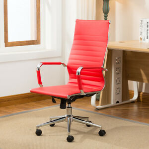 Adjustable Ergonomic Ribbed High Back Executive Office Pu Leather Chair Red
