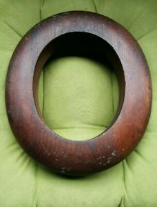 Solid Wooden Millinery Hat Block Form Mold Brim Ring Antique 2 1 2 In 7 1 8 810