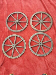 4 Matching Antique 8 Spoke Wood Wagon Or Cart Rubber Tipped 13 Wheels Vintage