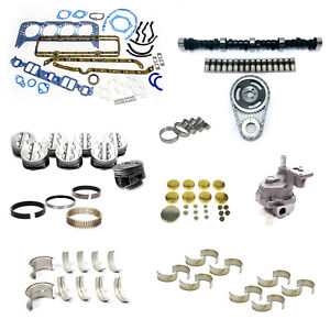 Early Sbc Chevy 350 5 7l Marine Master Engine Rebuild Kit Camshaft Pistons