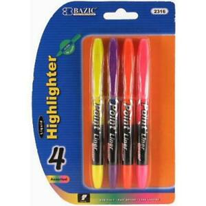 New 305703 Highlighter 4pc Pen Style Liquid Bazic 24 pack School Supplies