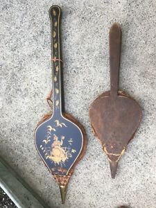Lot Of 2 Fireplace Bellows Long Asian Scene And Small Older One