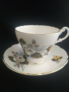Royal Ascot Vintage Bone China Teacup And Saucer Set White Yellow Roses 1960 S