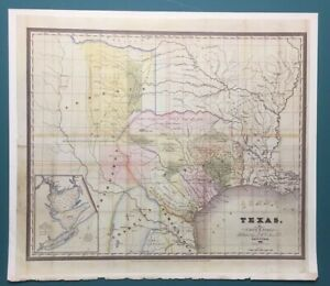 Antique 1833 Map Of Texas Colton Burr Vintage Copy