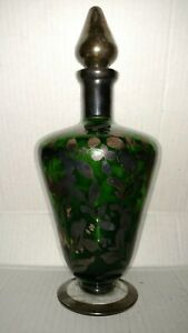 Antique Victorian Green Glass Silver Overlay Flowers Decoration Wine Decanter