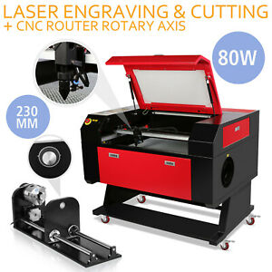 80w Co2 Laser Engraving Cutter Kit Rotary A axis W Stand Craft 3 jaw Usb Port