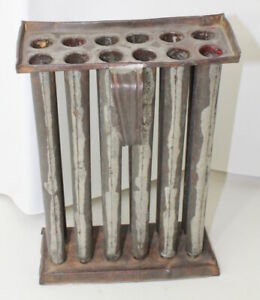 Antique Primitive 12 Tube Candle Stick Tin Metal Mold 9 1 2 Candles With Handle