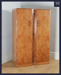 Antique Art Deco Burr Walnut 2 Door Armoire Wardrobe By Ray Miles Of Liverpool