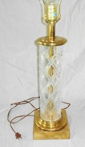 Brass Crystal Stiffel Pole Table Lamp Vintage Mid Century Mod Hollywood Regency