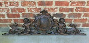 Antique French Architectural Pediment Hanging Crown Cherubs Carved Oak 47 Wide