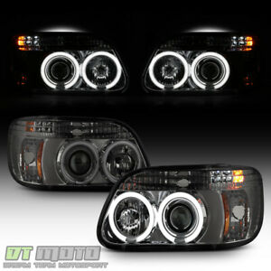 Smoked 1995 2001 Ford Explorer Ccfl Halo Projector Led Headlights Headlamp 95 01