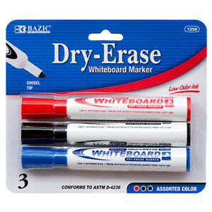 New 357104 Marker Whiteboard 3pc Jumbo 1250 bazic 24 pack School Supplies
