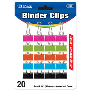 New 401781 Small 3 4 Inch 19mm Assorted Color Binder Clip 20 Pack