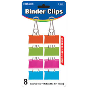New 401782 Medium 1 1 4 Inch 32mm Assorted Color Binder Clip 8 Pack