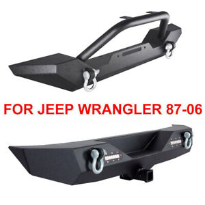 Front Bumper Rear Bumper D Rings W 2 Led Lights For 87 06 Yj Tj Jeep Wrangler