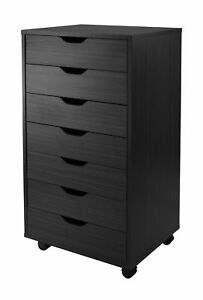 Winsome Halifax Cabinet For Closet office 7 Drawers Black