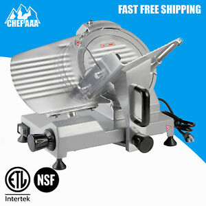 10 Blade Commercial Electric Manual Gravity Feed Meat Slicer Deli Food Cutter