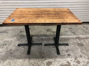 4 Top Dining Table Base Solid Real Wood 1920 Commercial Restaurant Furniture