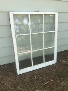 Window Sash Vintage Antique Rustic Wood 9 Frame