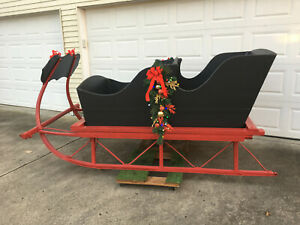 Antique Horse Drawn Sleigh Full Size Black Red Indiana Local Pick Up