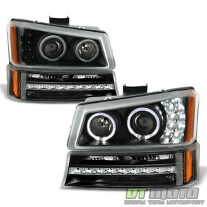 Black 2003 2006 Chevy Silverado Avalanche Led Halo Headlights led Bumper Lights