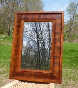 Antique American Empire Flame Mahogany Ogee Framed Mirror
