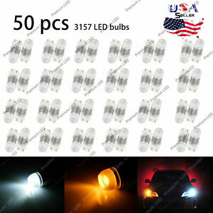 50x Dual Color 3157 Switchback Projector Led Driving Turn Signal Light Bulbs