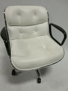Knoll Pollock Executive Office Chair In Chrome And White Mid Century Modern
